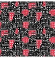 Houses Pattern Big Black and Red vector image vector image