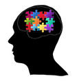 Human brain with jigsaw puzzle for think idea