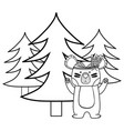 line ethnic bear animal with pine trees vector image vector image