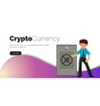man with ethereum crypto currency safe poster vector image