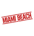 miami beach red square stamp vector image