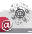 Paper and hand drawn mail emblem with icons vector image vector image
