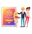 postcard for friend and happy family vector image vector image