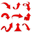 red 3d arrows bent and curled up icons vector image