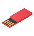 red usb flash icon isometric style vector image vector image