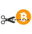 scissors cut bitcoin flat icon vector image