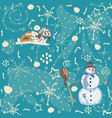 seamless winter pattern with doodles bunny and vector image vector image