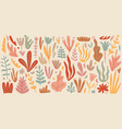 set beautiful flowers and leaves hand vector image vector image