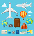set of travel objects in flat style vector image vector image