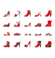 shoes simple color flat icons set vector image
