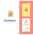 shopping bag creative logo and business card vector image vector image