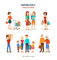 shopping people joint purchases family walks vector image