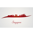 Singapore skyline in red and gray background vector image vector image