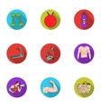 Sport and fitness set icons in flat style Big vector image vector image