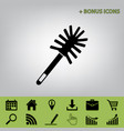 toilet brush doodle black icon at gray vector image vector image