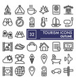 tourism line icon set travel symbols collection vector image