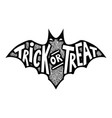 trick or treat bat silhouette isolated on white vector image vector image