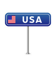 usa road sign national flag with country name vector image