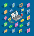 web isometric icons 3d office collection vector image vector image