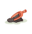 wooden scoop and pile of chia seeds natural vector image