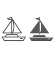 yacht line and glyph icon transport and ship vector image vector image