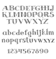 Alphabet letters font with cross-hatching vector image
