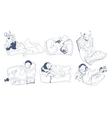 Sketch Sleeping Kids Set vector image