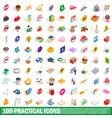 100 practical icons set isometric 3d style vector image vector image