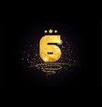 6 number icon design with golden star and glitter vector image vector image