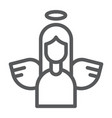 angel line icon decoration and peace holy sign vector image vector image