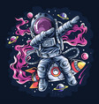 astronaut dabbing style on a space rocket