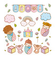 babies and cute toys decoration to baby shower vector image