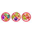 bacteria in prohibition sign comic crossed out vector image vector image