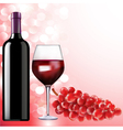 bottle of wine glass and grapes vector image vector image