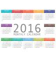 calendar grid for 2016 Rigorous design vector image vector image
