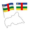 central african republic flag and map vector image vector image