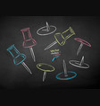 chalk drawn set push pins vector image vector image