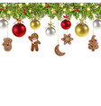 christmas banner with gingerbread vector image vector image