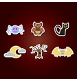 color icons with symbols of Halloween vector image