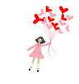 cute cartoon girl flying with hearts shape vector image vector image