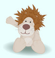 cute cartoon lion on blue background vector image vector image