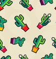 Cute stitching cactus plant icons seamless pattern vector image vector image
