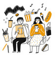 drawing character people popcorn lover vector image