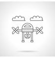 Drone with camera line icon vector image