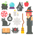 Flat design witch item set vector image