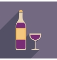 Flat web icon with long shadow glass of wine