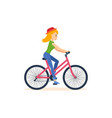 girl traveling by bicycle is engaged activities vector image