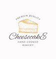 hand-cooked bakery cheesecake abstract sign vector image vector image