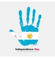 Handprint with the Flag of Argentina in grunge vector image