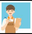 handsome cafe waiter in apron uniform vector image vector image